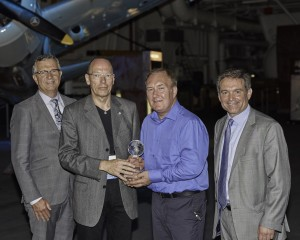 ADVA Optical Networking's Klaus Grobe and Michael Huthart were awarded QuEST Forum's First Annual Sustainability Award for Most Improved by QuEST Forum Chair, Steve Pickett, and CEO, Fraser Pajak. ADVA received the award during QuEST Forum's Executive Board dinner and reception on Monday evening during the Americas Best Practices Conference at the USS Midway.